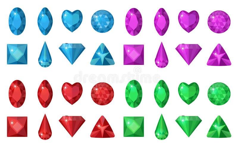 Barwiący klejnoty ustawiający Biżuteria, kryształ kolekcja odizolowywająca na białym tle Diamentu różny cięcie Colorf royalty ilustracja