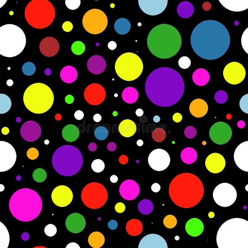 Barwiący okręgi w chaotycznym sposobie na czarnym tle Grafika wz?r royalty ilustracja