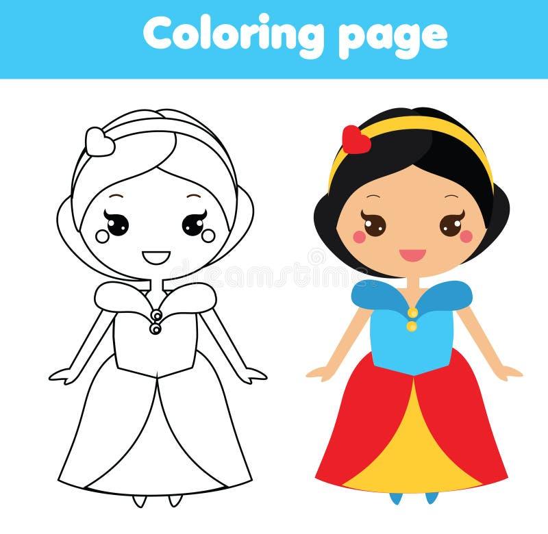 Barwiący stronę z ślicznym princess charakterem w kawaii projektuje Rysujący dzieciaków gemowych Printable aktywność royalty ilustracja
