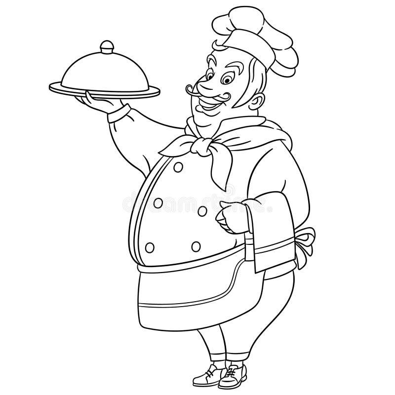Barwi?cy stron? z szefa kuchni kucharza kuchenki szefem ilustracja wektor