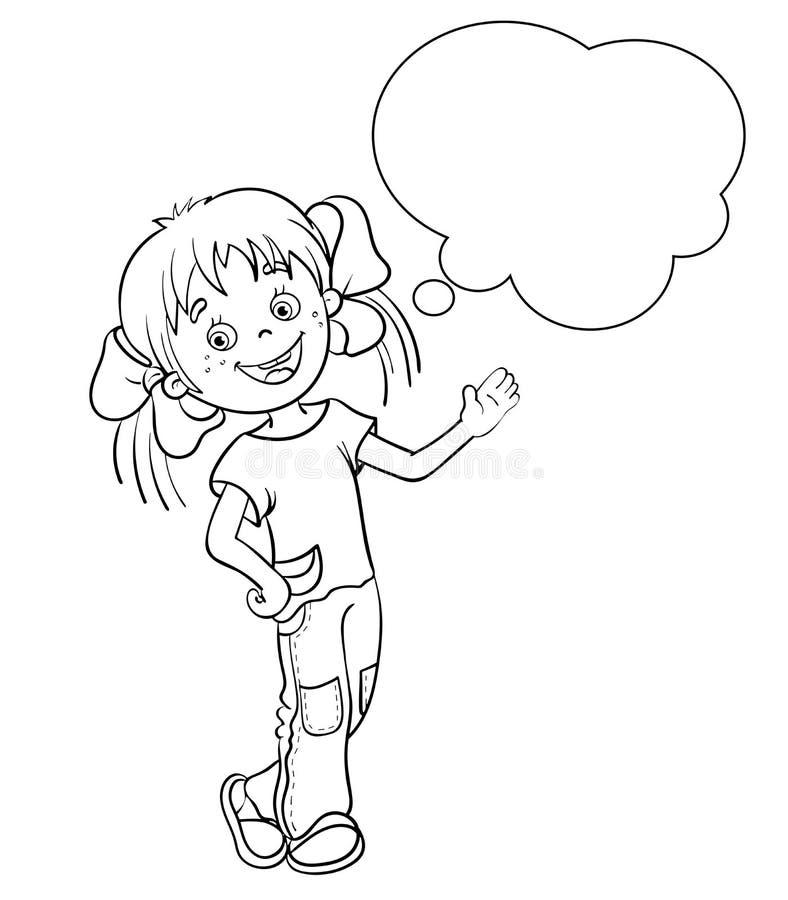 Barwiący strona kontur kreskówki dziewczyna z mową gulgocze ilustracji