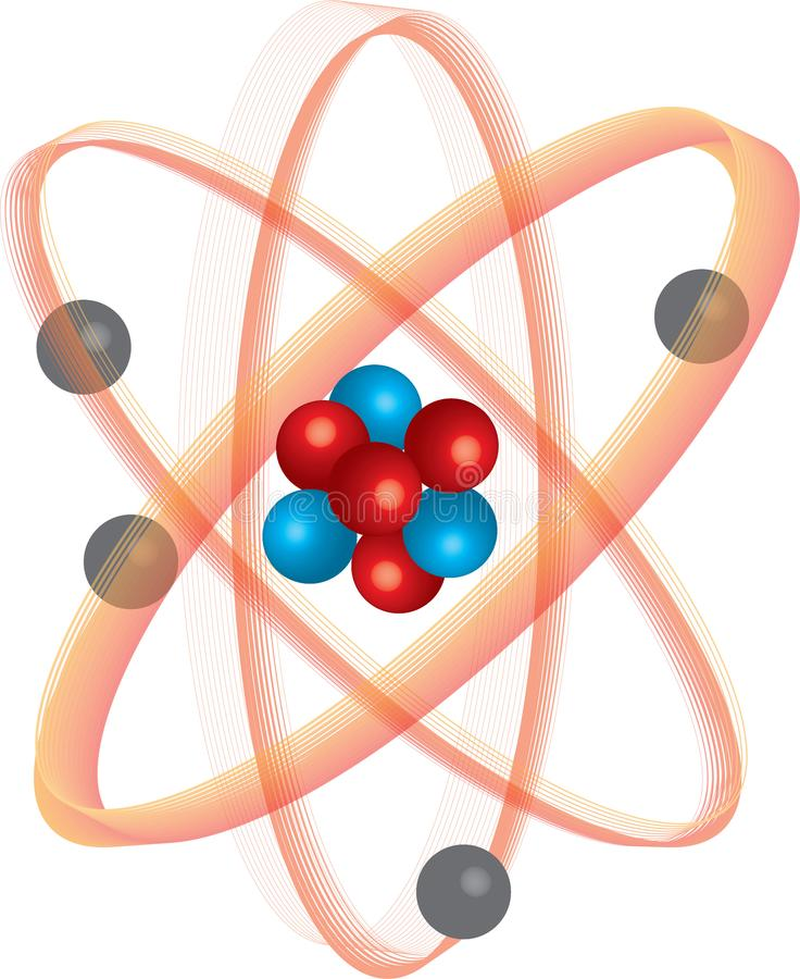 Barwiący znak atom z orbitami zdjęcie stock