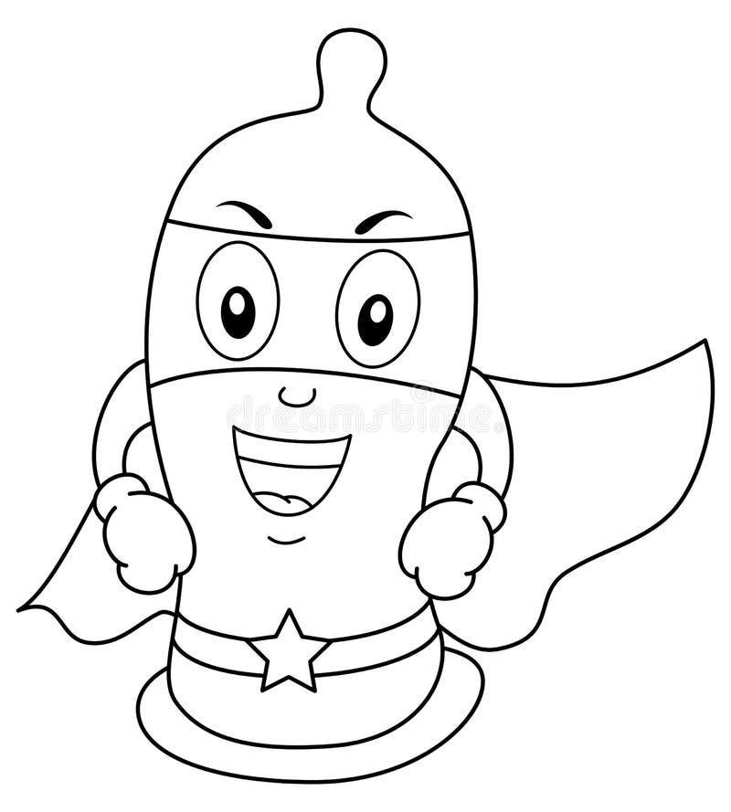 Barwić Śmiesznego kondoma bohatera royalty ilustracja