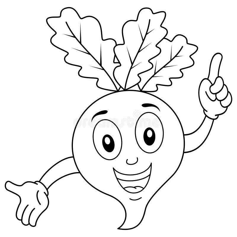 Barwić Śmieszny rzodkiew charakteru ono Uśmiecha się ilustracja wektor