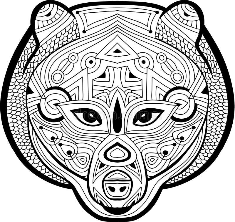 Barwić antistress stronę Okrutnie niedźwiedź rysuje ręką z i royalty ilustracja