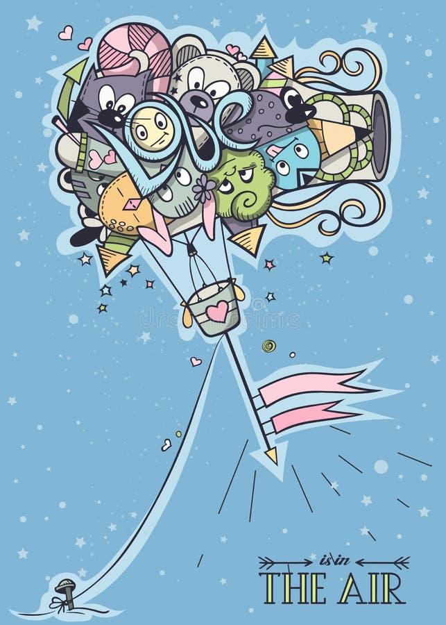 Barwić doodle balon royalty ilustracja