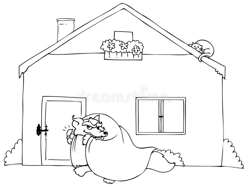 Barwić Dużego złego wilczego pukanie ilustracja wektor