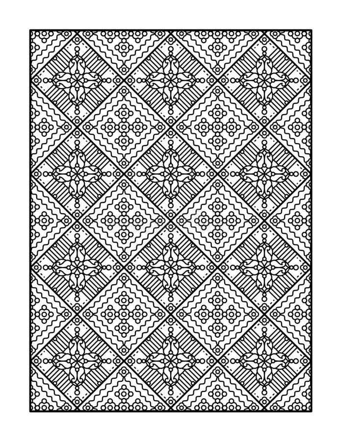 Barwić stronę dla dorosłych lub czarny i biały ornamentacyjny tło, ilustracja wektor