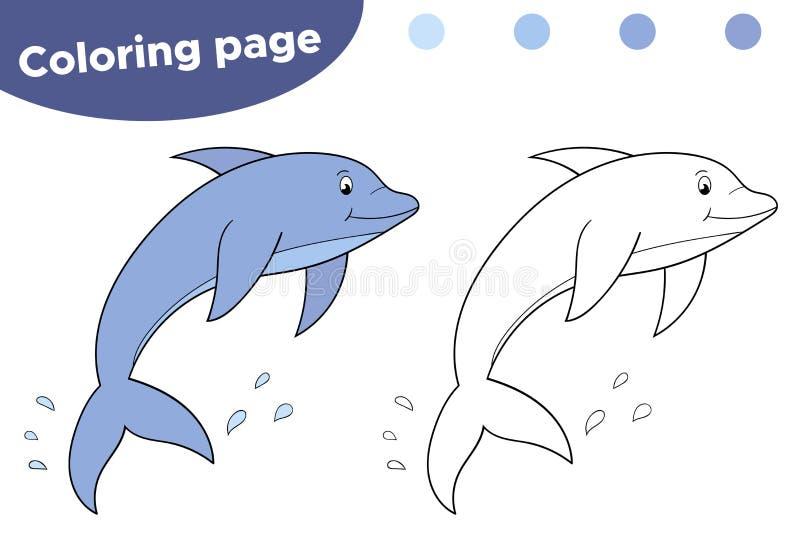 Barwić stronę dla dzieci Kreskówka delfin gili Indonesia wyspy lombok meno blisko dennego żółwia underwater światu ilustracja wektor