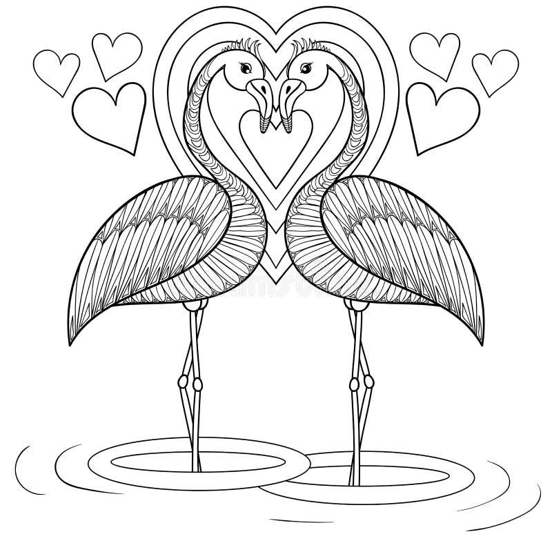 Barwić stronę z flamingiem w miłości, zentangle ręki rysunkowy illu royalty ilustracja