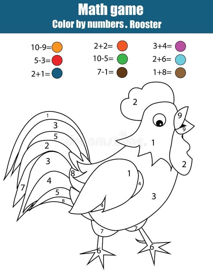 Barwić stronę z kogutem Barwi liczbami, mathematics edukacyjna gra, worksheet ilustracja wektor