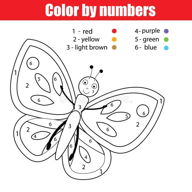 Barwić stronę z motylem Barwi liczb dzieci edukacyjną grze, rysuje dzieciak aktywność ilustracja wektor