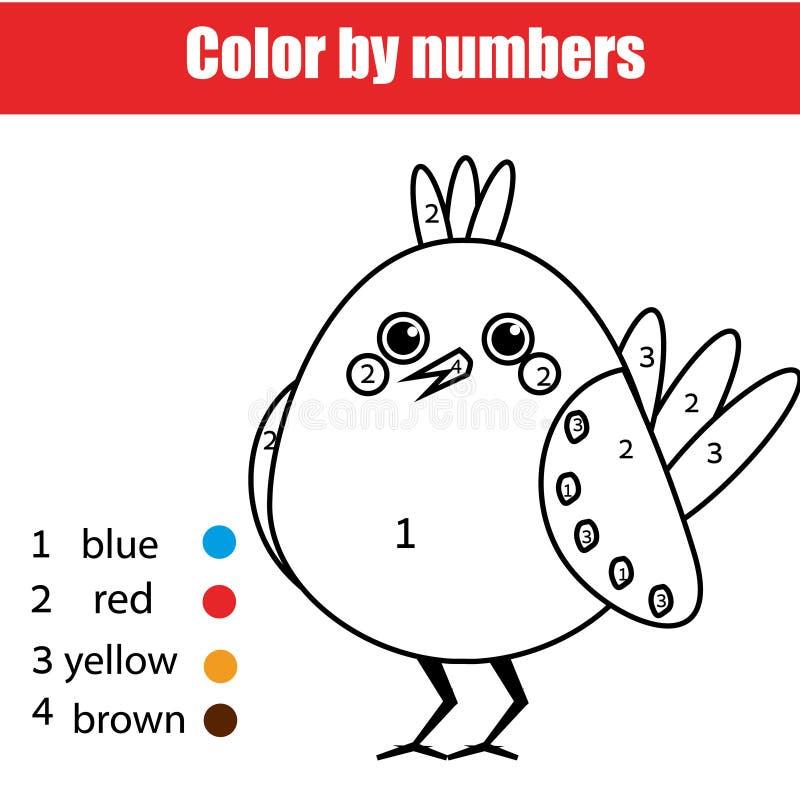 Barwić stronę z ptakiem Barwi liczb dzieci edukacyjną grze, rysuje dzieciak aktywność ilustracji
