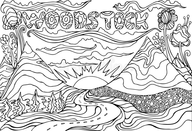 Barwić stronę z wpisowym Woodstock i krajobraz z, górami słońcem i drogą iść w zmierzch, wektor ilustracja wektor