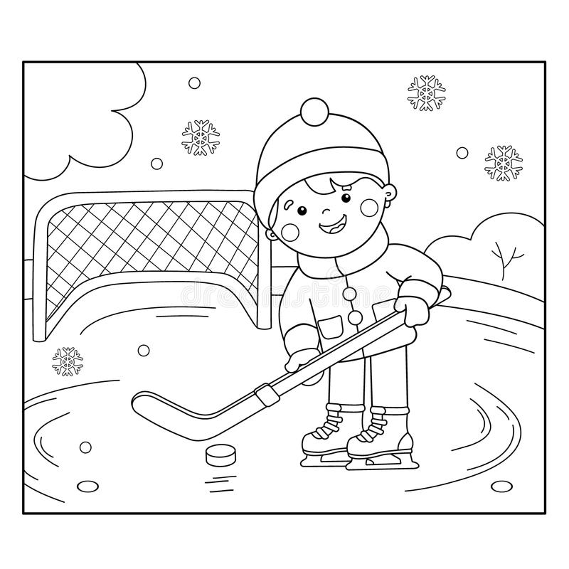 Barwić strona kontur bawić się hokeja kreskówki chłopiec royalty ilustracja