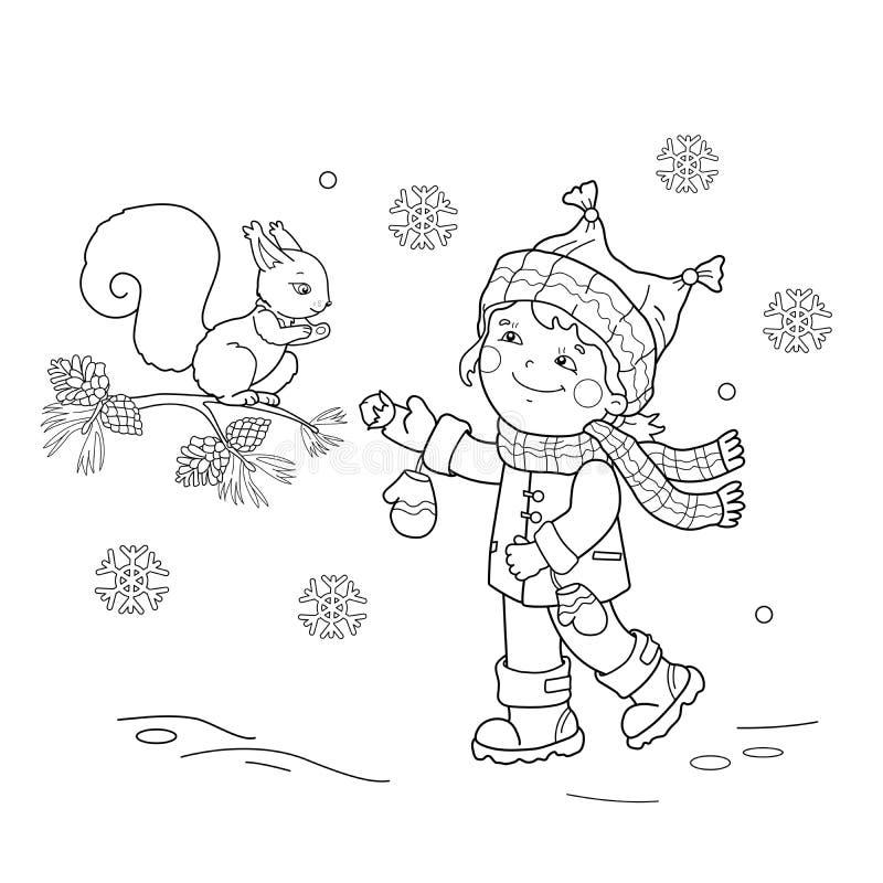 Barwić strona kontur karmi wiewiórki kreskówki dziewczyna Zima ilustracji