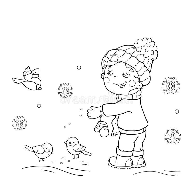 Barwić strona kontur kreskówki chłopiec żywieniowi ptaki royalty ilustracja
