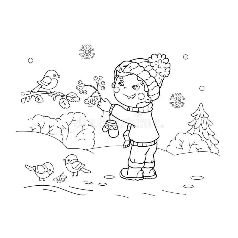 Barwić strona kontur kreskówki chłopiec żywieniowi ptaki ilustracja wektor