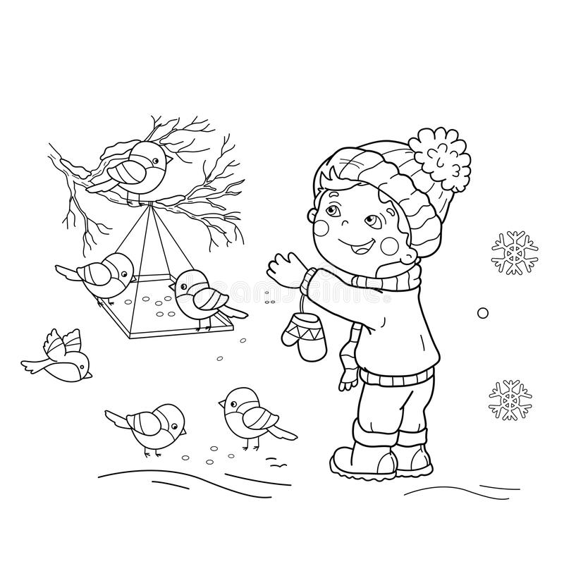 Barwić strona kontur kreskówki chłopiec żywieniowi ptaki Ptasi dozownik ilustracji
