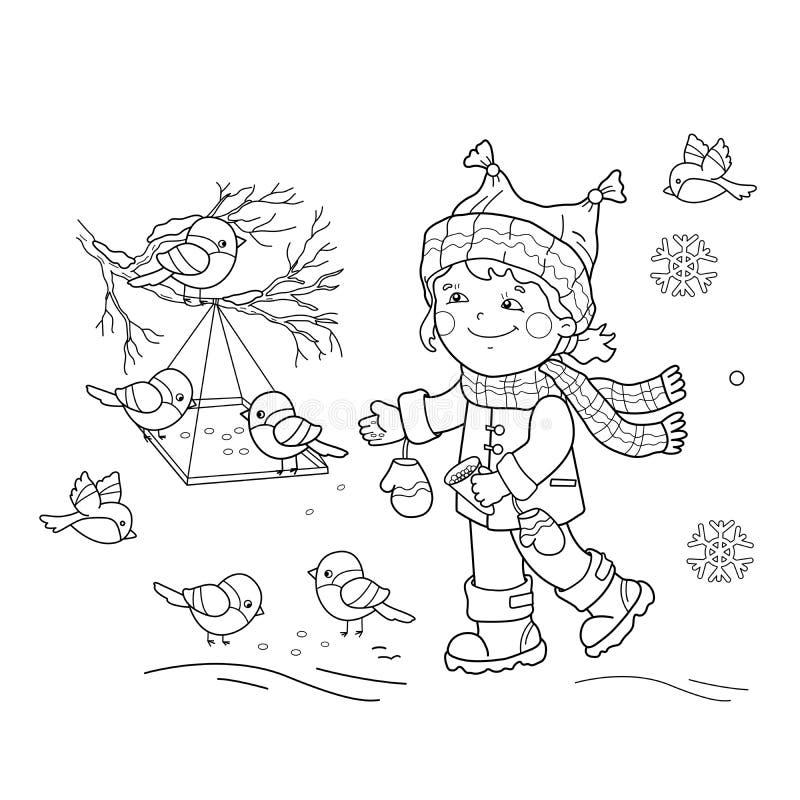 Barwić strona kontur kreskówki dziewczyny żywieniowi ptaki Ptasi dozownik royalty ilustracja
