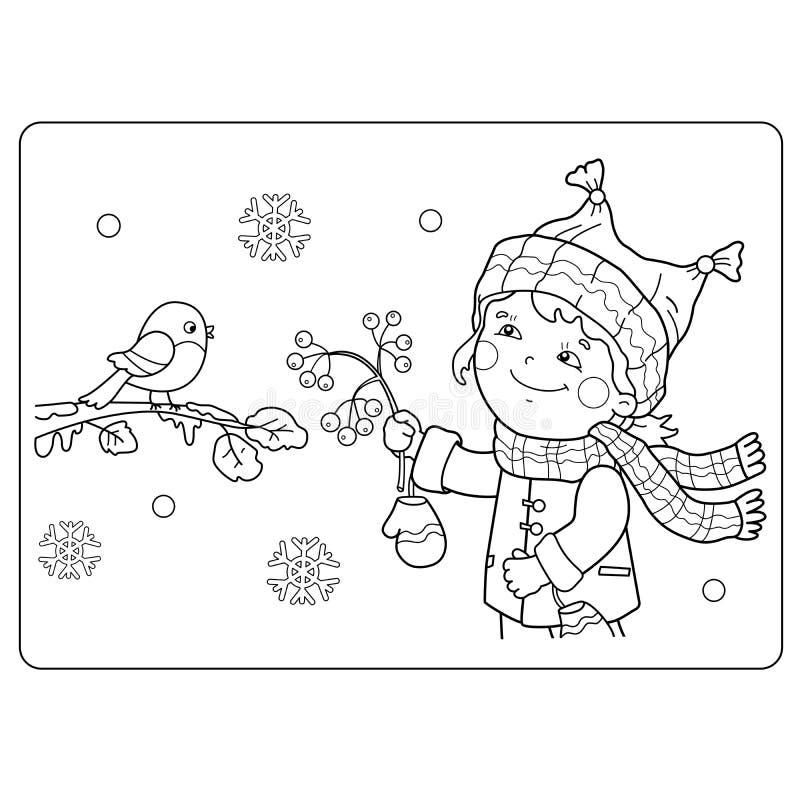 Barwić strona kontur kreskówki dziewczyny żywieniowi ptaki Zima ilustracji