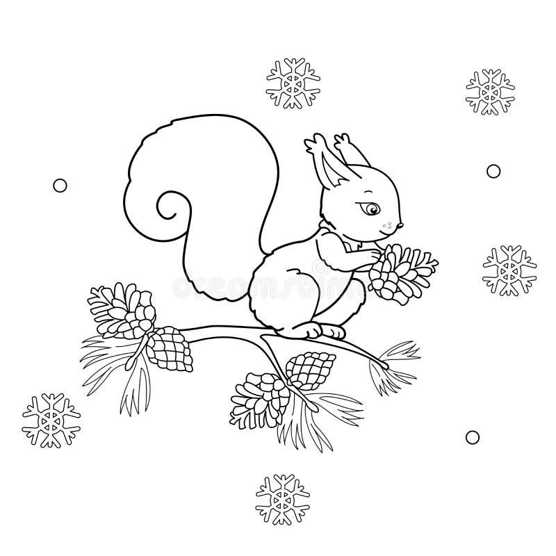 Barwić strona kontur kreskówki wiewiórka z rożkiem ilustracja wektor