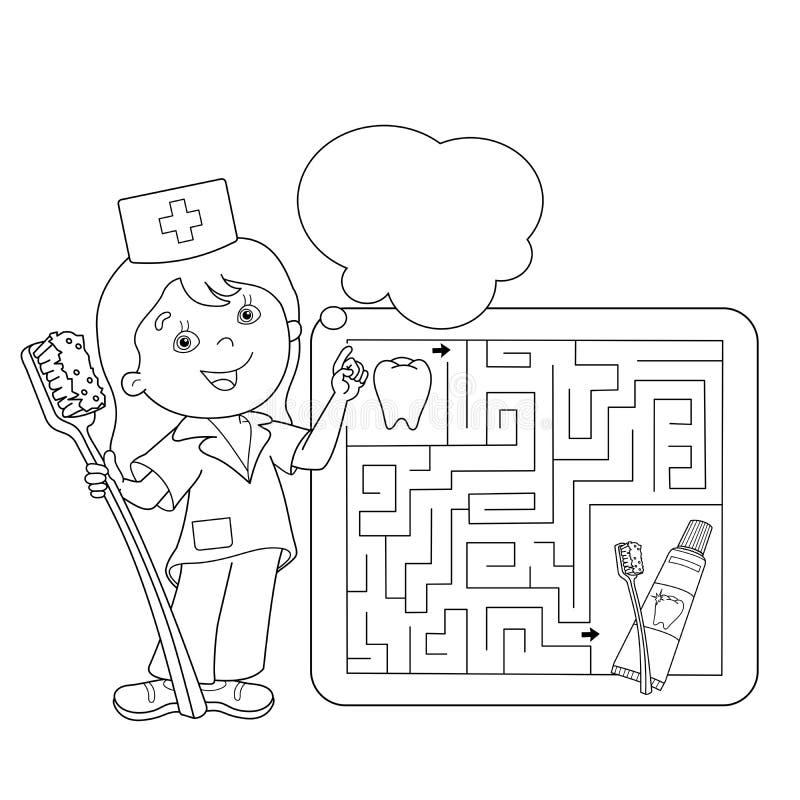 Barwić strona kontur lekarka z toothbrush i pasta do zębów ilustracja wektor