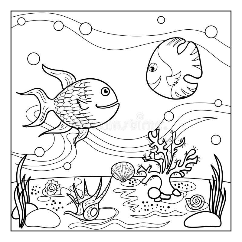 Barwić strona kontur podwodny świat dla dzieciaków obrazy royalty free