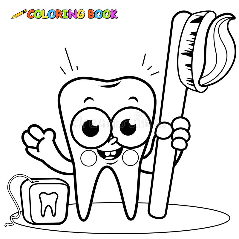 Barwić strona zębu kreskówki mienia toothbrush i stomatologicznego floss royalty ilustracja