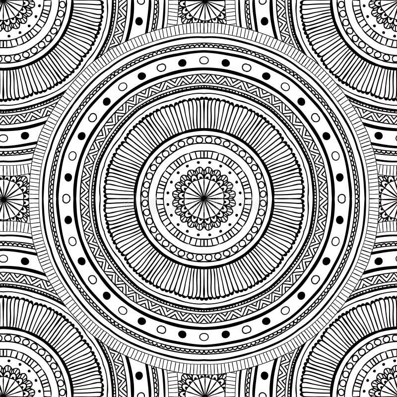 Barwić strony dla dorosłych Dekoracyjna ręka rysujący doodle natury ornamentacyjny skarbikowany wektorowy szkicowy bezszwowy wzór royalty ilustracja