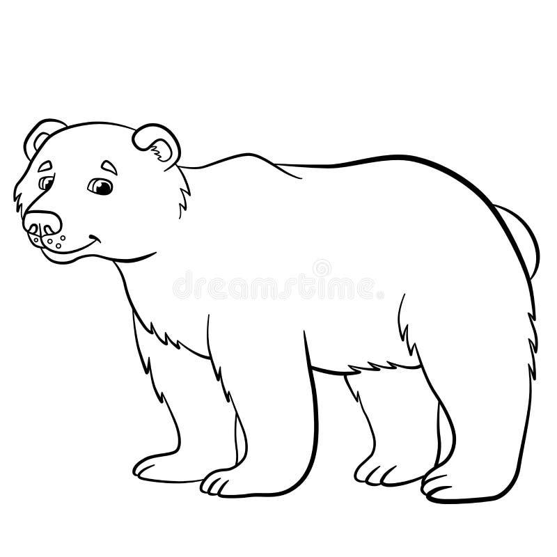 Barwić strony dzikich zwierząt Śliczni niedźwiedzi uśmiechy ilustracji