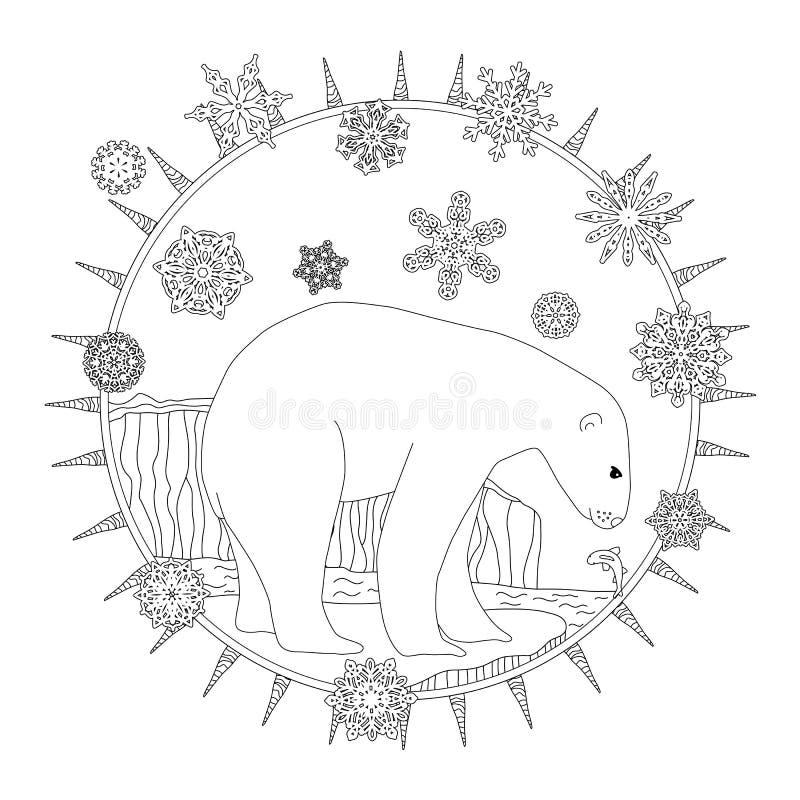 Barwić strony Niedźwiedzia polarnego stojaki w śniegu Zimy pocztówka royalty ilustracja