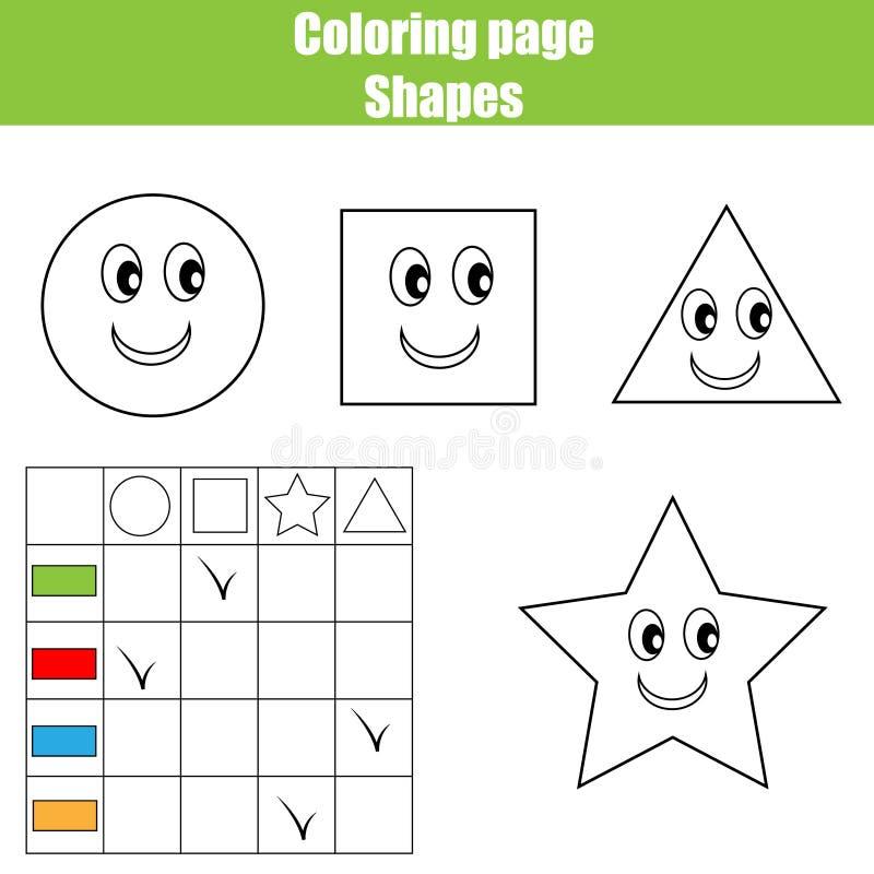 Barwić strony praktyki prześcieradło Edukacyjni dzieci gry, dzieciaki aktywność, printable worksheet Uczyć się kształty i kolory royalty ilustracja