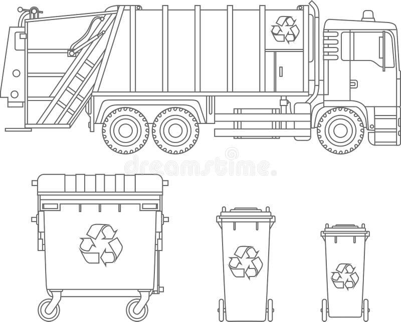 Barwić strony Set śmieciarska ciężarówka i różni typ śmietnik płaskie liniowe wektorowe ikony odizolowywać na białym tle Vecto ilustracji