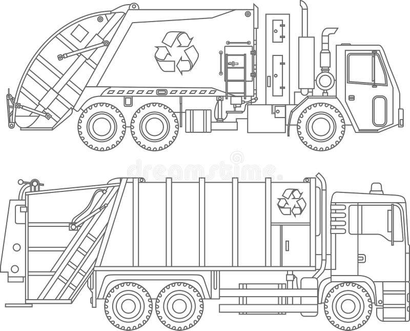 Barwić strony Set różne miłe śmieciarskich ciężarówek płaskie liniowe ikony odizolowywać na białym tle również zwrócić corel ilus royalty ilustracja