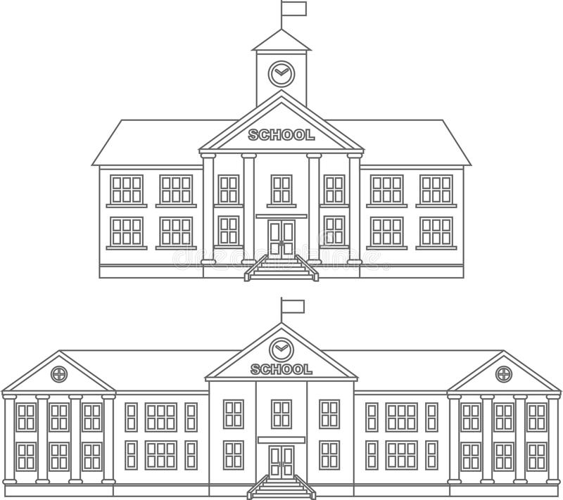 Barwić strony Set różnego sylwetka budynku szkoły płaskie liniowe ikony odizolowywać na białym tle wektor royalty ilustracja
