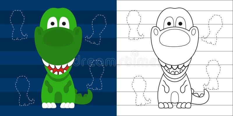 Barwić strony t ślicznego małego rex dla edukaci postać z kreskówki royalty ilustracja