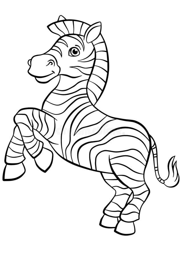 Barwić strony zwierzęta Mała śliczna zebra royalty ilustracja