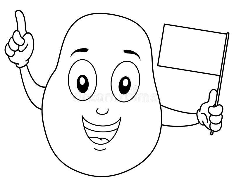 Barwić Szczęśliwego Kartoflanego charakteru z flaga ilustracji