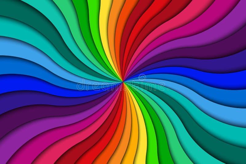 Barwi ślimakowatego tło, jaskrawy kolorowy wiruje promieniowy wzór ilustracja wektor