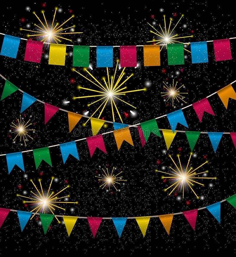 Barwi banderki chorągiewki trójgraniastą i kwadratową inkasową czerwień, kolor żółty, błękit, zieleń, pomarańcze kolory w nocy z  ilustracja wektor