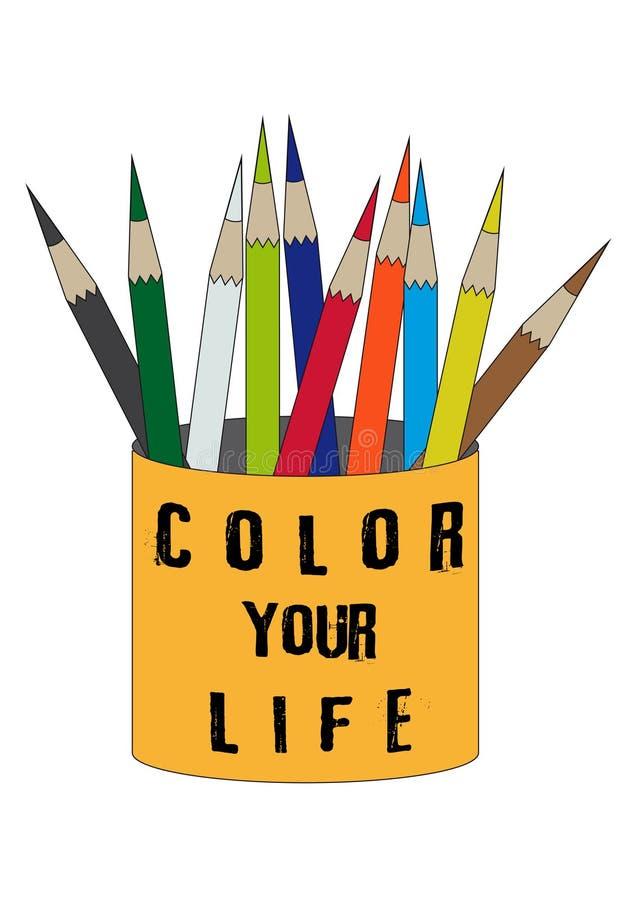 Barwi ciebie życie pomarańcze cyna z grupą kolorów ołówki odizolowywający na białym tle ilustracji
