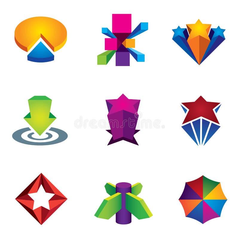 Barwi 3d ogólnospołeczną super gwiazdową ikonę ustawiającą dla internet sieci twórczości loga ilustraci sukcesu royalty ilustracja