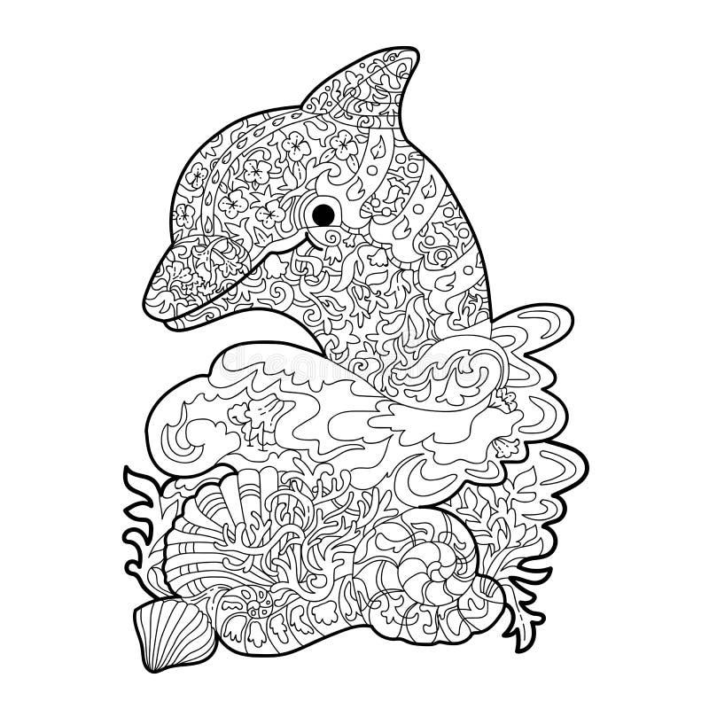 barwi? dla stresu Grafiki ilustracja delfin w morzu na bia?ym tle ilustracja wektor