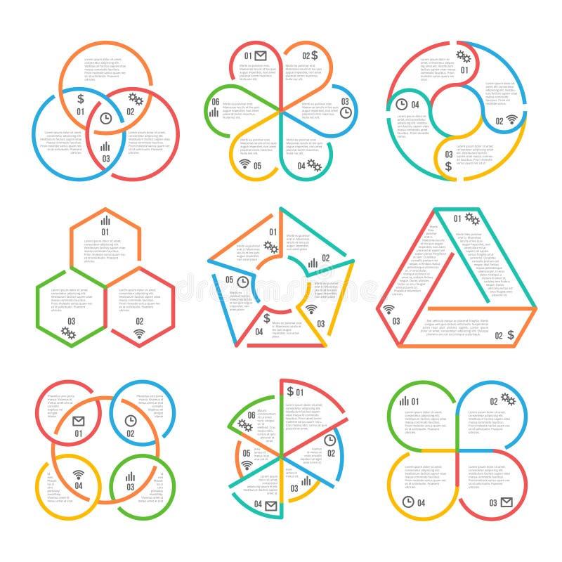 Barwi gęstego kreskowego okrąg, trójgraniastego, heksagonalnego, pięciobocznego infographics konturu map diagramów biznesowi wykr ilustracja wektor