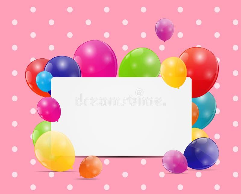 Barwi glansowanego balon urodzinowej karty tła wektoru illustrat ilustracji