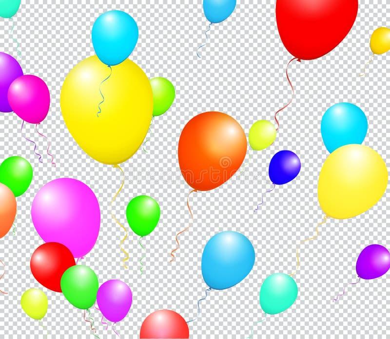 Barwi Glansowanych balony odizolowywających na błękicie w Wektorowej ilustraci ilustracji