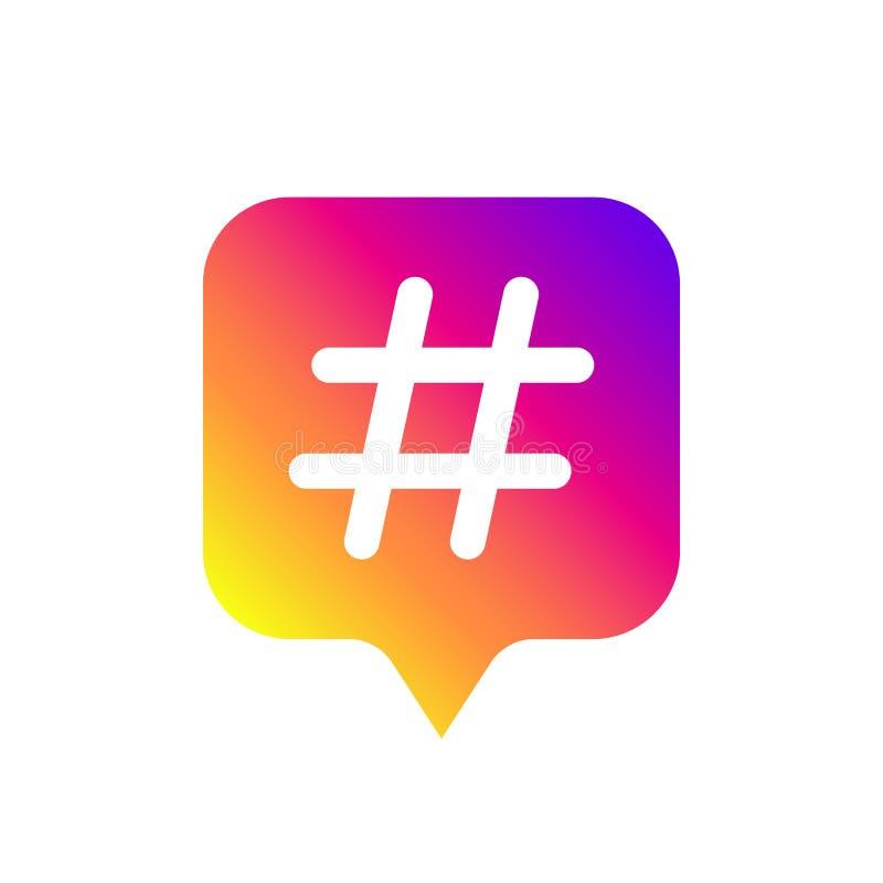 Barwi gradientowego ikona szablon z hashtag dla ogólnospołecznego medialnego Instagram r?wnie? zwr?ci? corel ilustracji wektora royalty ilustracja