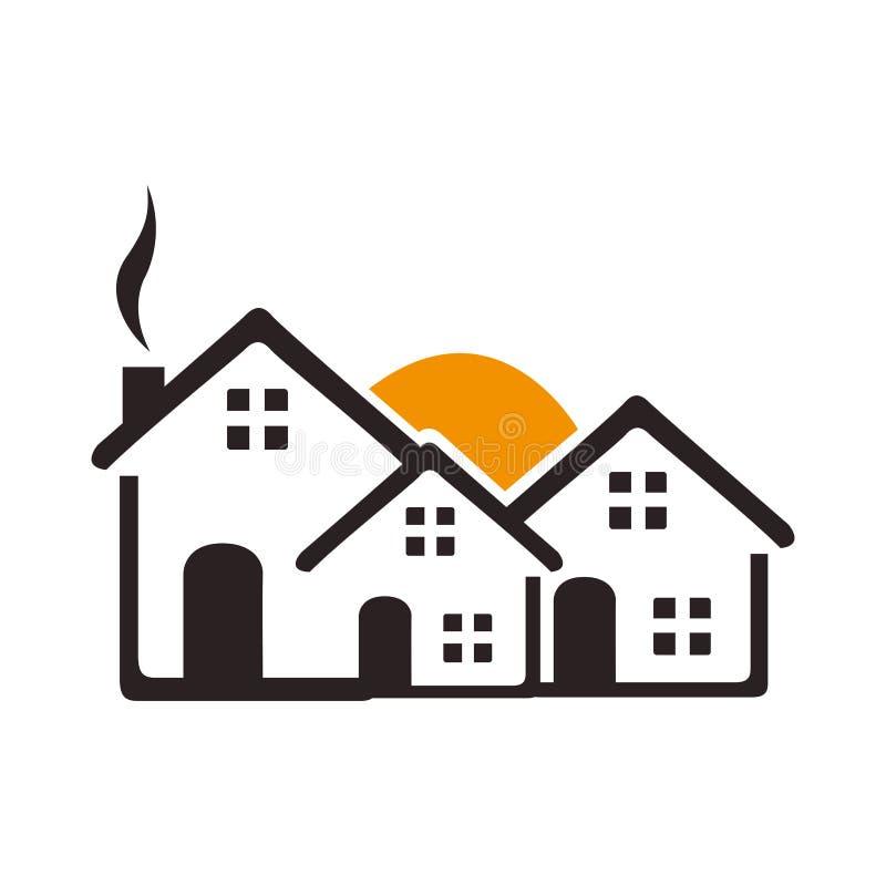 Barwi kontur z grupą domy i zmierzch ilustracji