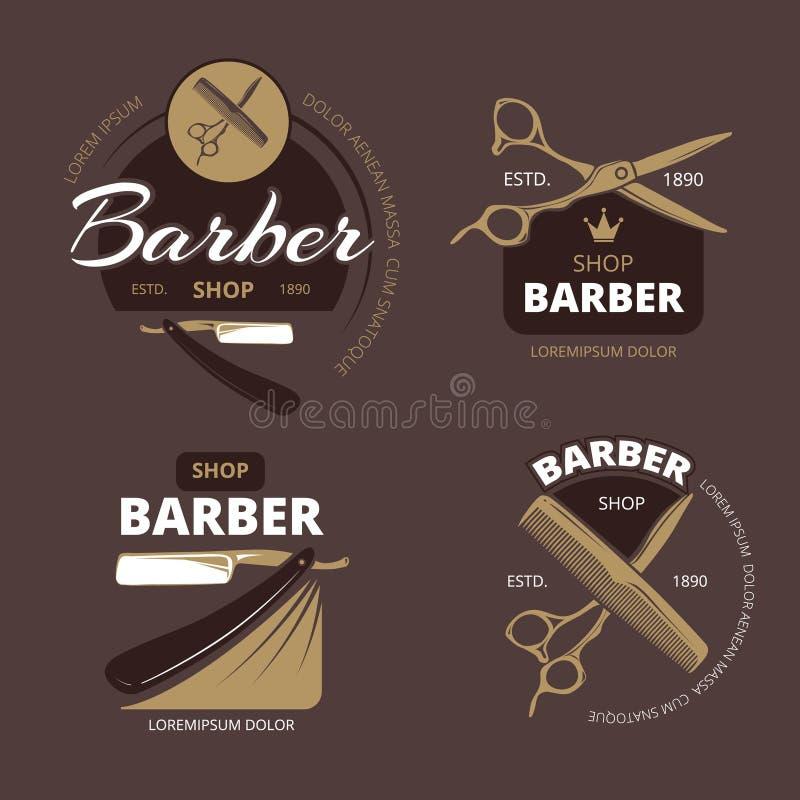 Barwi loga, etykietki i odznaki fryzjera męskiego sklepu, Wektorowa rocznik kolekcja ilustracji